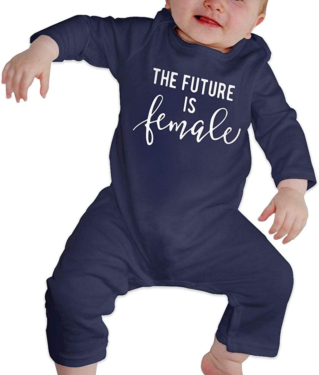 Olyha The Future is Female Baby Long Sleeve Onesies Bodysuit Feminist Cotton Infant Romper Coveralls for Boys Girls