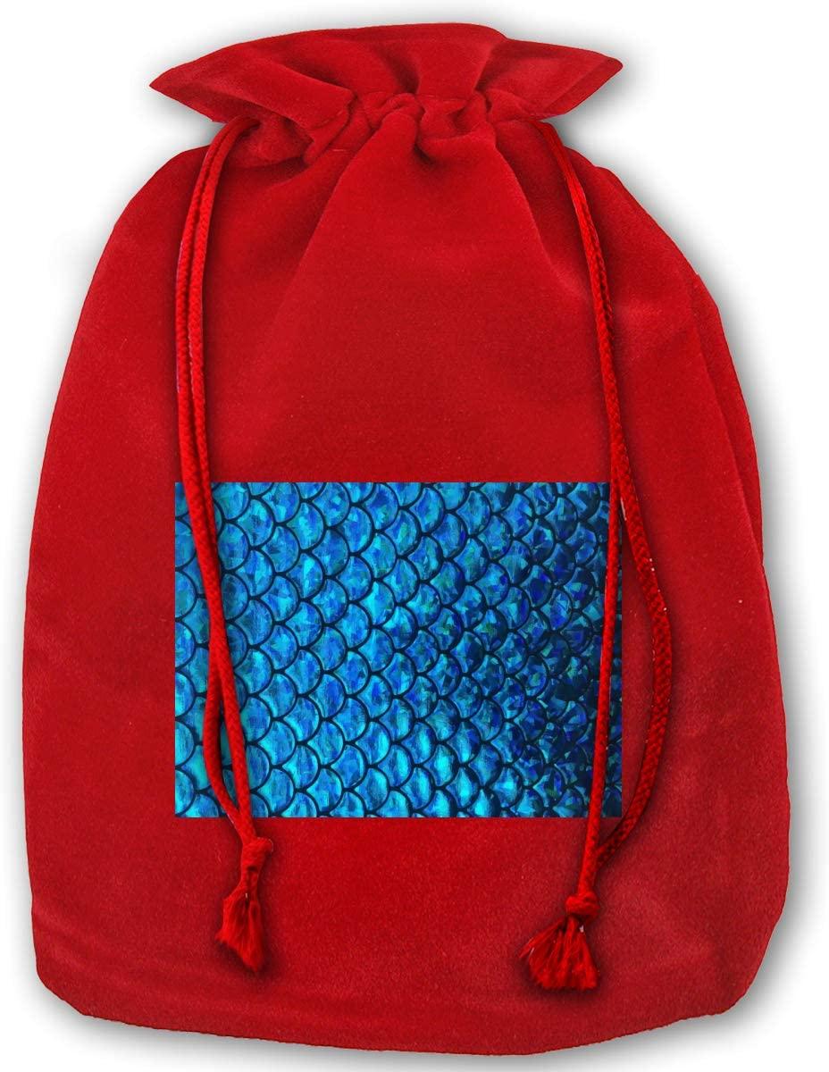 WEDSX Blue Fish Scales Christmas Gold Velvet Drawstring Elastic Reusable Gift Bag 35