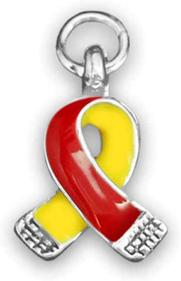 Fundraising For A Cause   Small Two Sided Red & Yellow Ribbon Awareness Charms – Red & Yellow Ribbon-Shaped Charms & Pendants for Coronavirus, Hepatitis C, HIV/HCV Co-Infection Awareness (5 Charms)