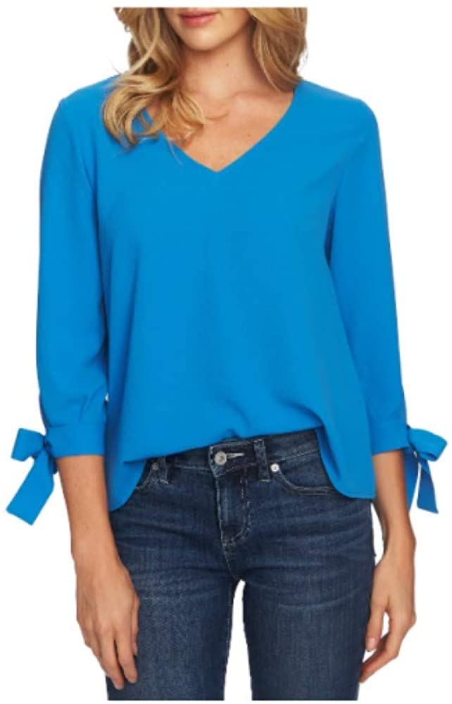 CeCe Womens Tie Sleeve Top, Size Small - Blue