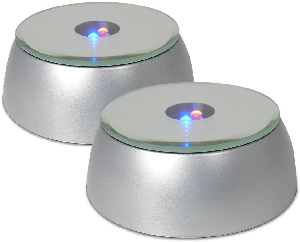 BANBERRY DESIGNS Merchandise Display Base, LED Lighted, Silver, Mirrored Top, Color Changing Lights, (Pack of 2)