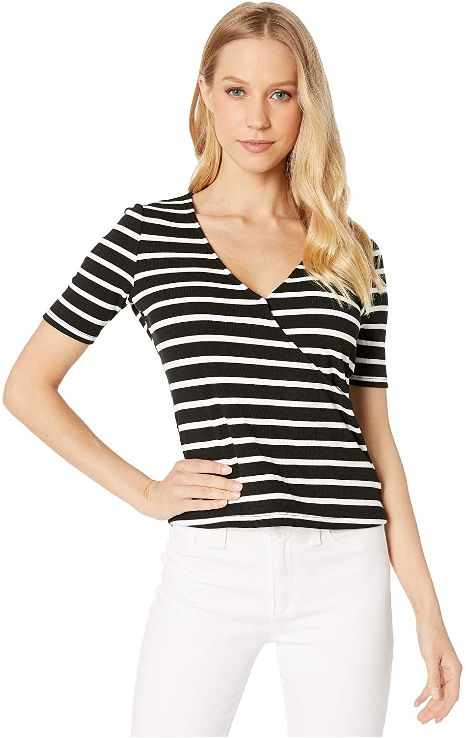 Sanctuary Essentials Wrap Top Black/White Stripe XS (US 2)