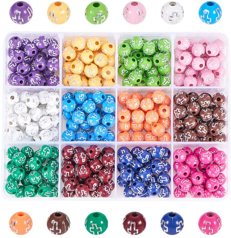 NBEADS About 312 Pcs 8mm Round Acrylic Spacer Beads, 12 Assorted Colors Silver Acrylic Ball Charms Fashion DIY Spacers Beads for Bracelet Necklace Jewelry Making