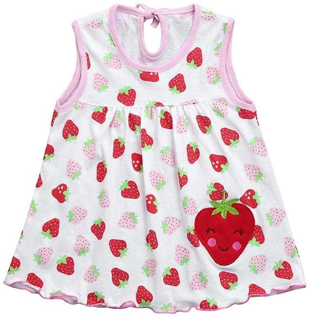 terbklf Toddler Cute Baby Cotton Flower Children Dot Floral Printed Tees Dress T-Shirt Vest Stylish Mini A-line Dress