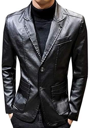 Mens Vegan Leather Blazer