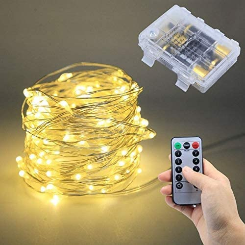 COOLDEALS Remote Control Dimmable 8 Modes USB Led String Lights 10m 100 LEDs 5V 33FT Copper Wire Wedding Party Decoration Lighting