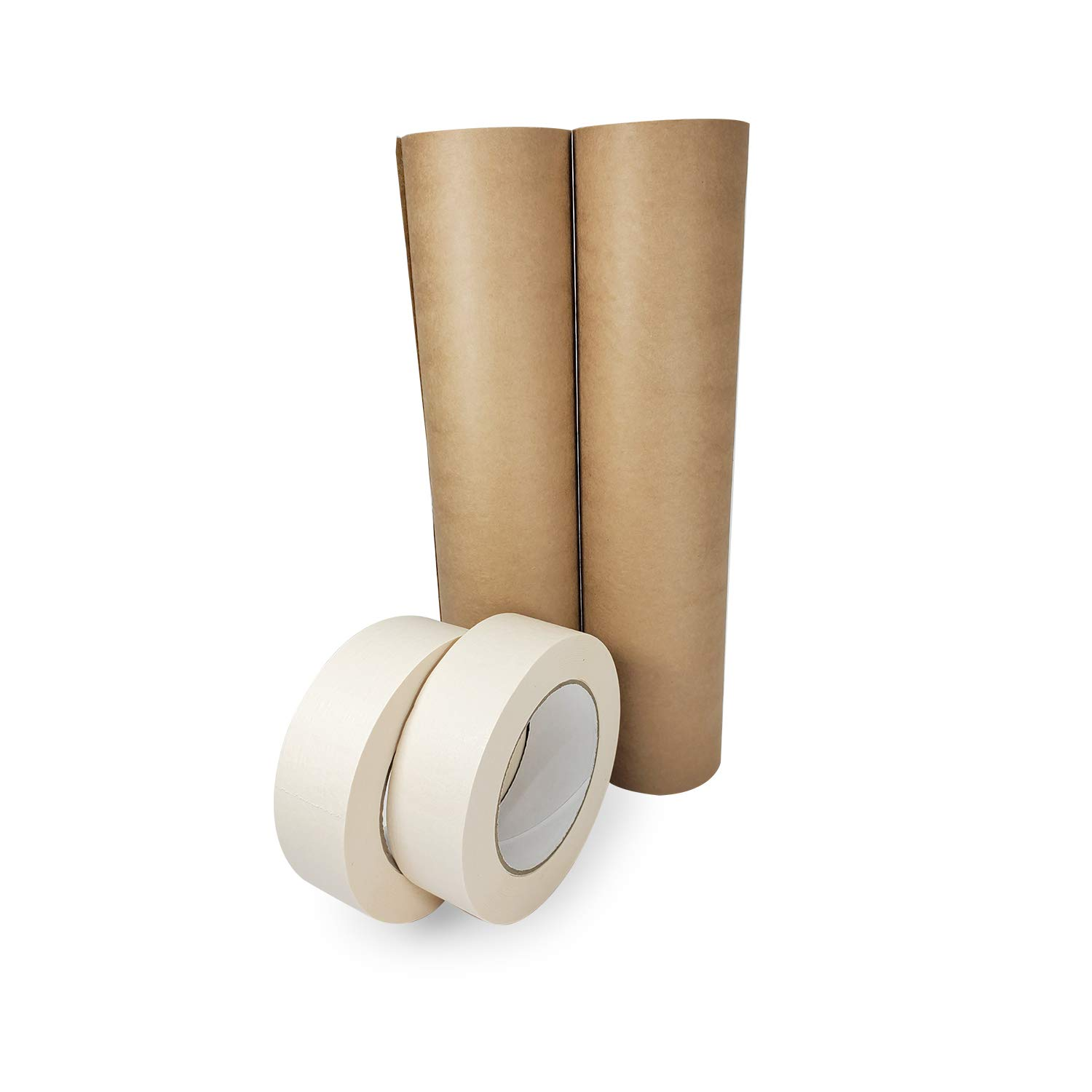 IDL Packaging Masking Paper with Tape Rolls. Brown Masking Paper Roll - 12
