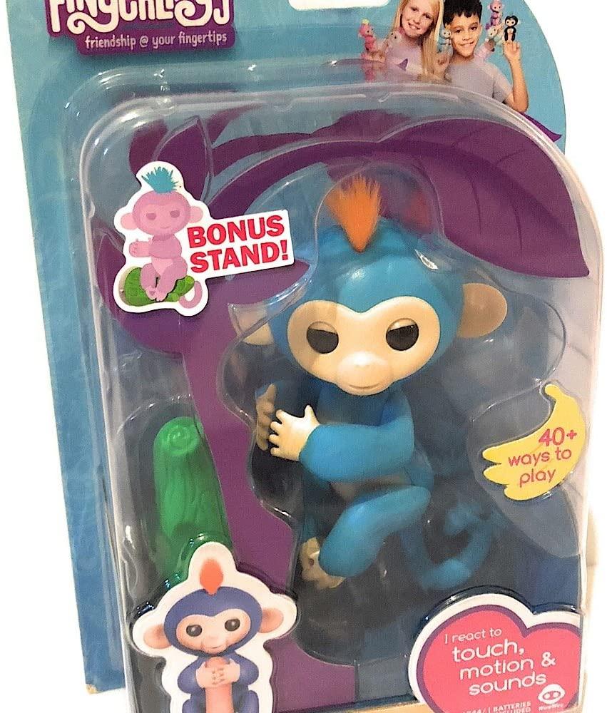 Fingerlings Baby Monkey - Boris - Blue (Includes Bonus Stand)