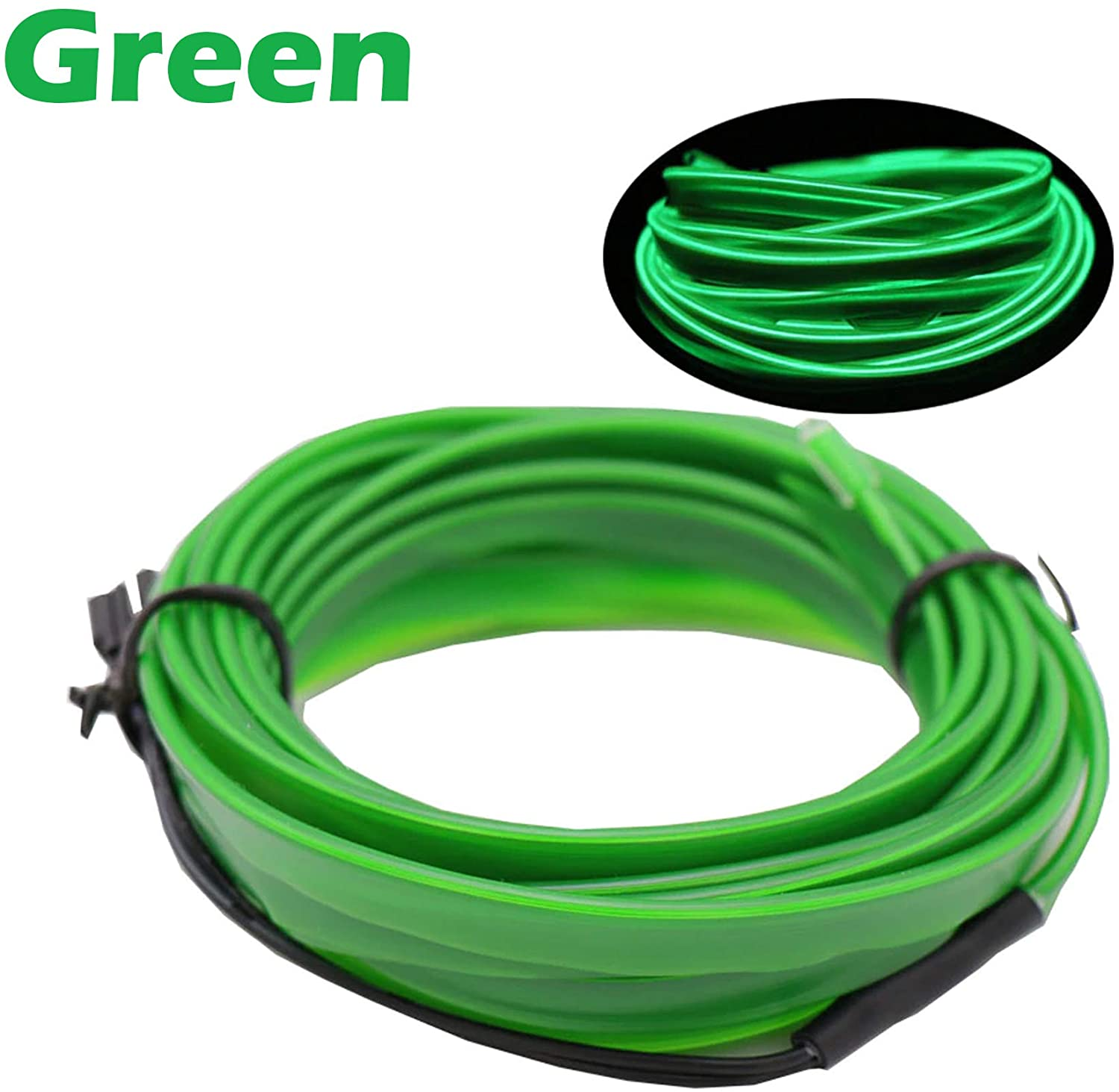 1-Pack 10m/32.8ft Green Neon LED Light Glow EL Wire - 3.2 mm Thick - EL Wire ONLY - Craft Neon Wire String Light for DIY Project Costume Accessories Cosplay