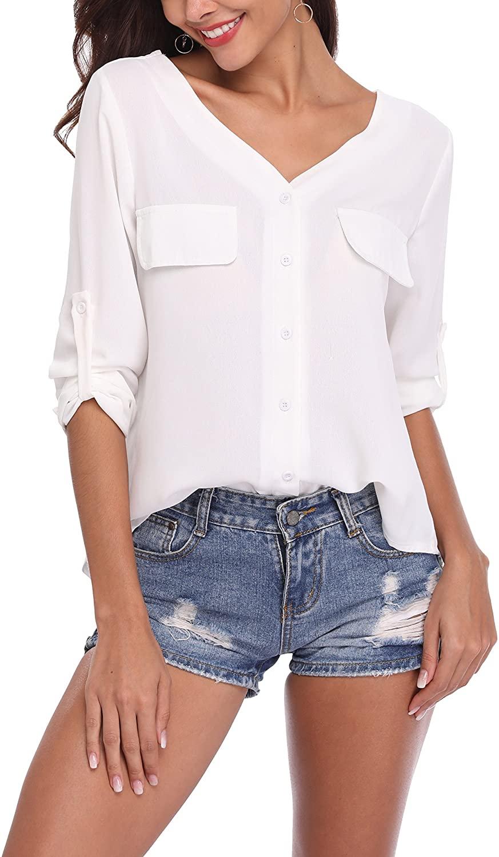 LYHNMW Womens Casual Stylish V Neck Chiffon Blouses Cuffed Long Sleeve Button Down Shirts Tops