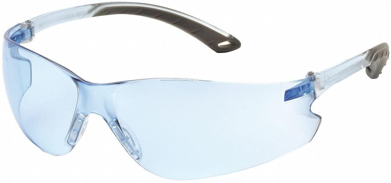 Pyramex Blue Safety Glasses, Scratch-Resistant, Frameless