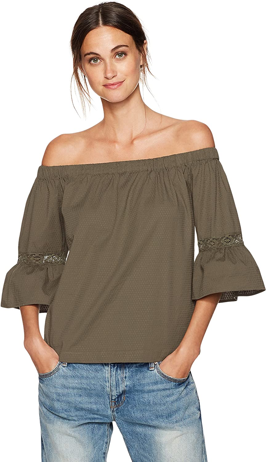 Trina Turk Women's Castro Dobby Shirting Off The Shoulder Top