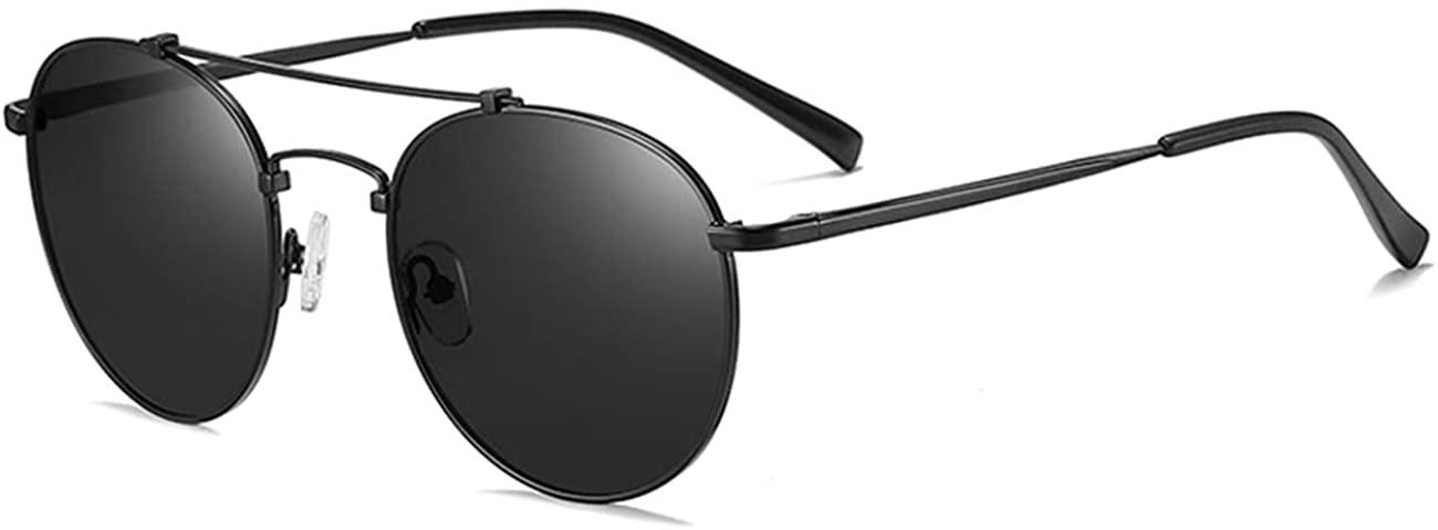 MAXJULI Round Polarized Sunglasses for Men Double Bridge Frame UV400 Protection 8064