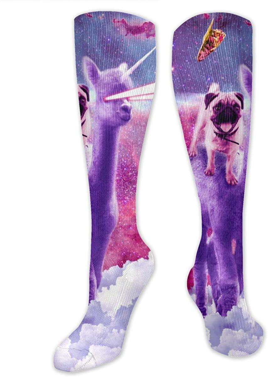 Men Women Knee High Socks Cosmic Pug Riding Alpaca Long Hose Thigh Stockings