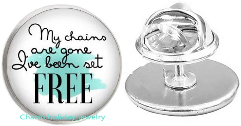 My Chains are Gone I've Been Set Free Song Lyrics Pin Brooch Jewelry Inspirational Jewelry Christian Gift-#27