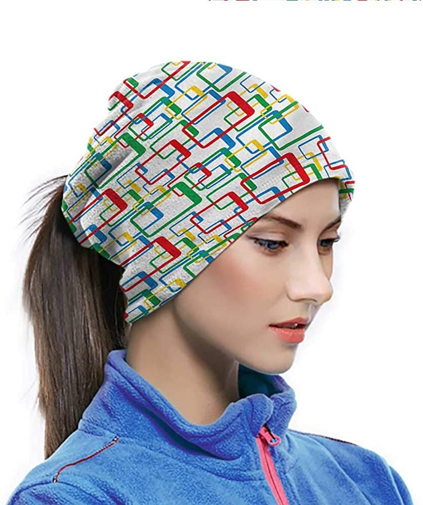 Head Wrap Retro, Colorful Rectangles Pattern Outdoor Face cover for Bug and Dust Protection 10 x 11.6 Inch
