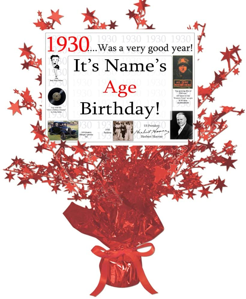 1930-90th Birthday Customized Red Star Centerpiece (Each) by Partypro