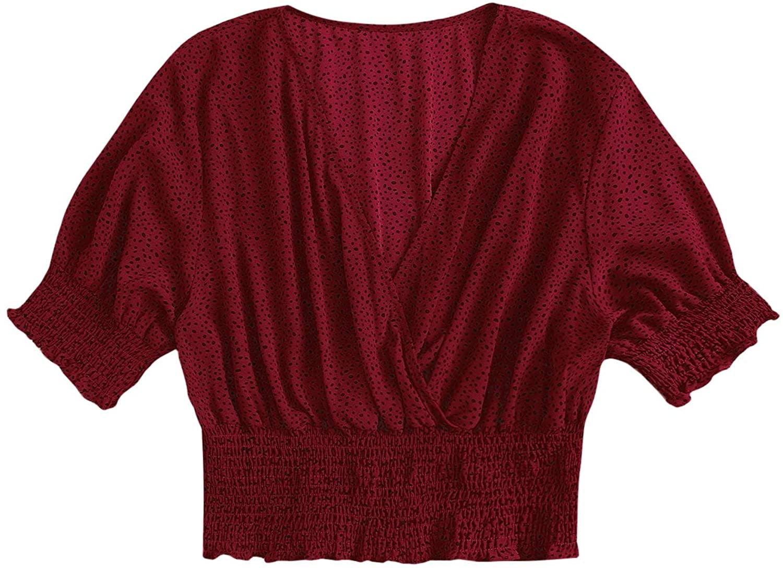MakeMeChic Women's Plus Size Dot Print V Neck Blouse Half Sleeve Shirr Crop Top