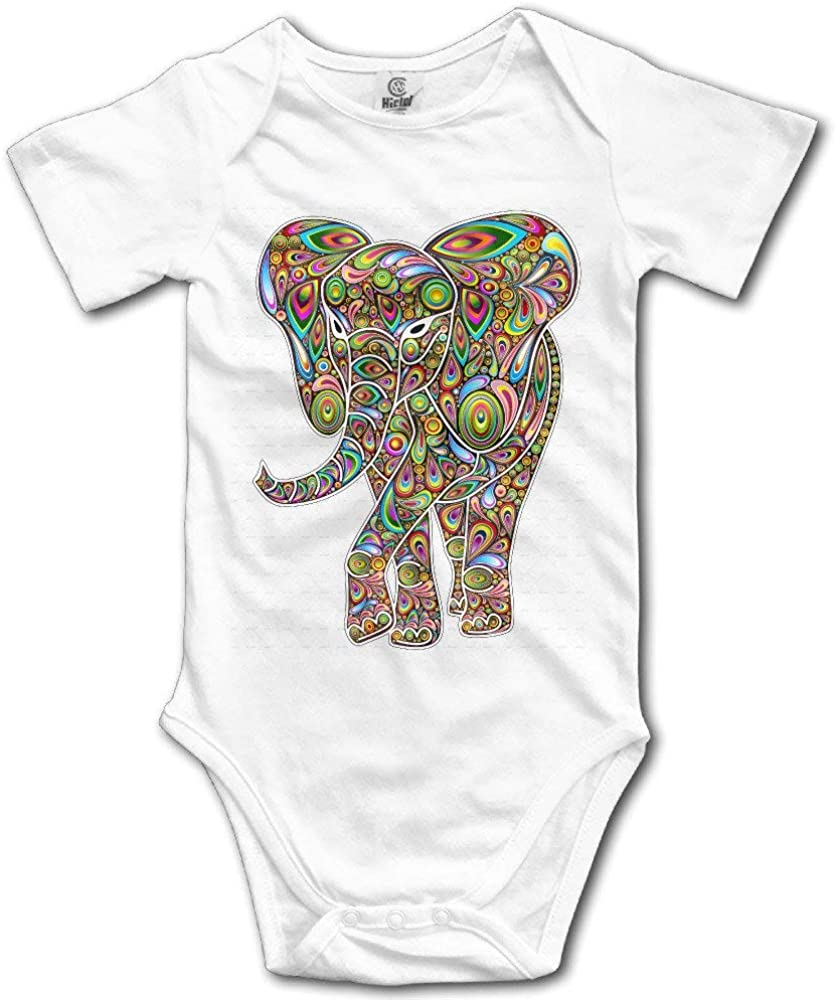 Quafoo Unisex Elephant Psychedelic Baby Rompers Baby Onesie Short Slev