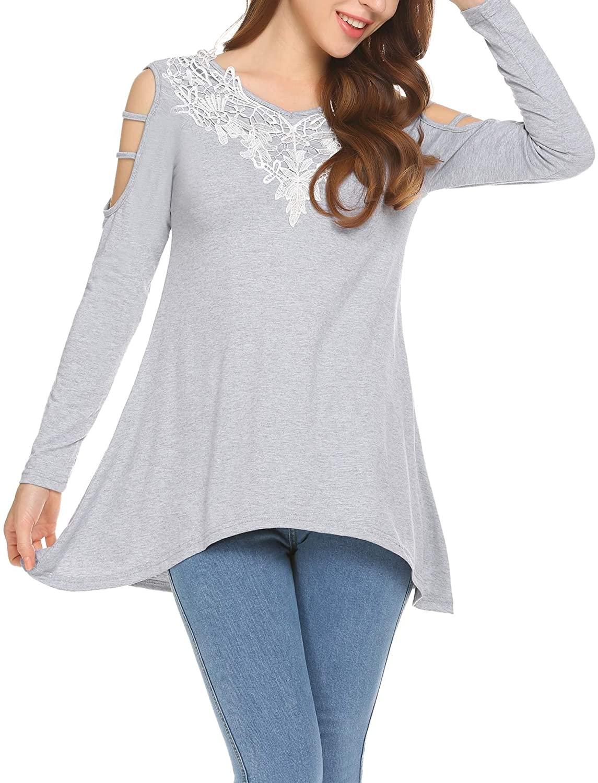 Mofavor Women's Sexy Floral Lace Crochet Cold Shoulder Half Sleeve Tops Blouse t Shirt