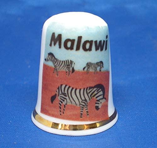Birchcroft Porcelain China Collectible Thimble - Travel Poster Malawi Box