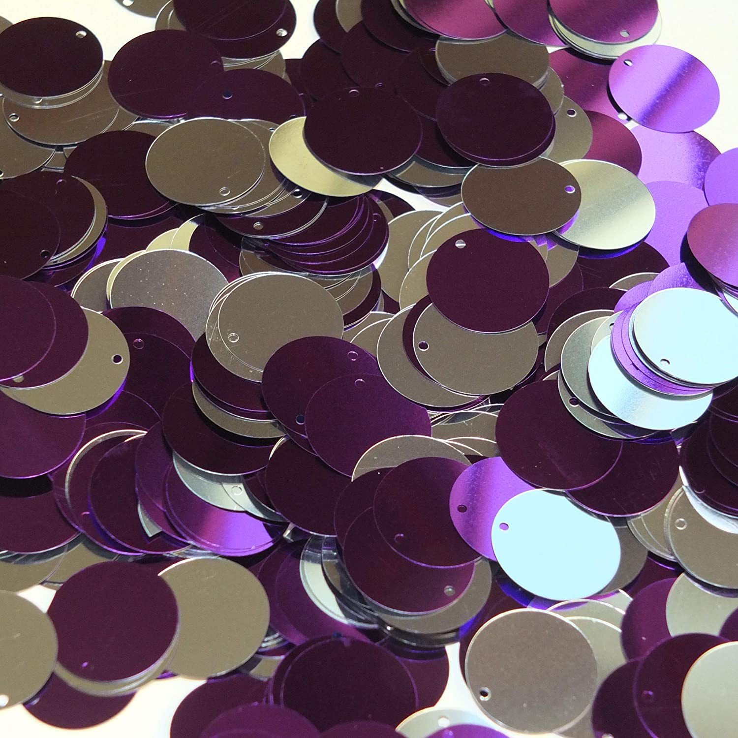 20mm Sequins Round Purple Silver Metallic Reversible Flip Duo Top Hole Made in USA