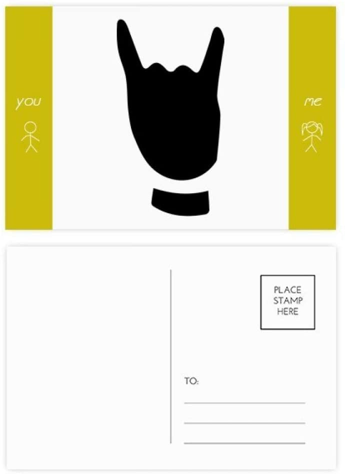 Corna Gesture Silhouette Pattern Friend Postcard Set Thanks Card Mailing Side 20pcs