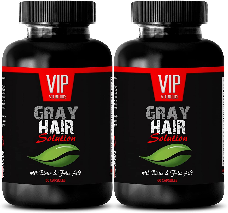 Pure Biotin Powder - Gray Hair Solution - Anti Gray Hair Formula (2 Bottles 120 Capsules)