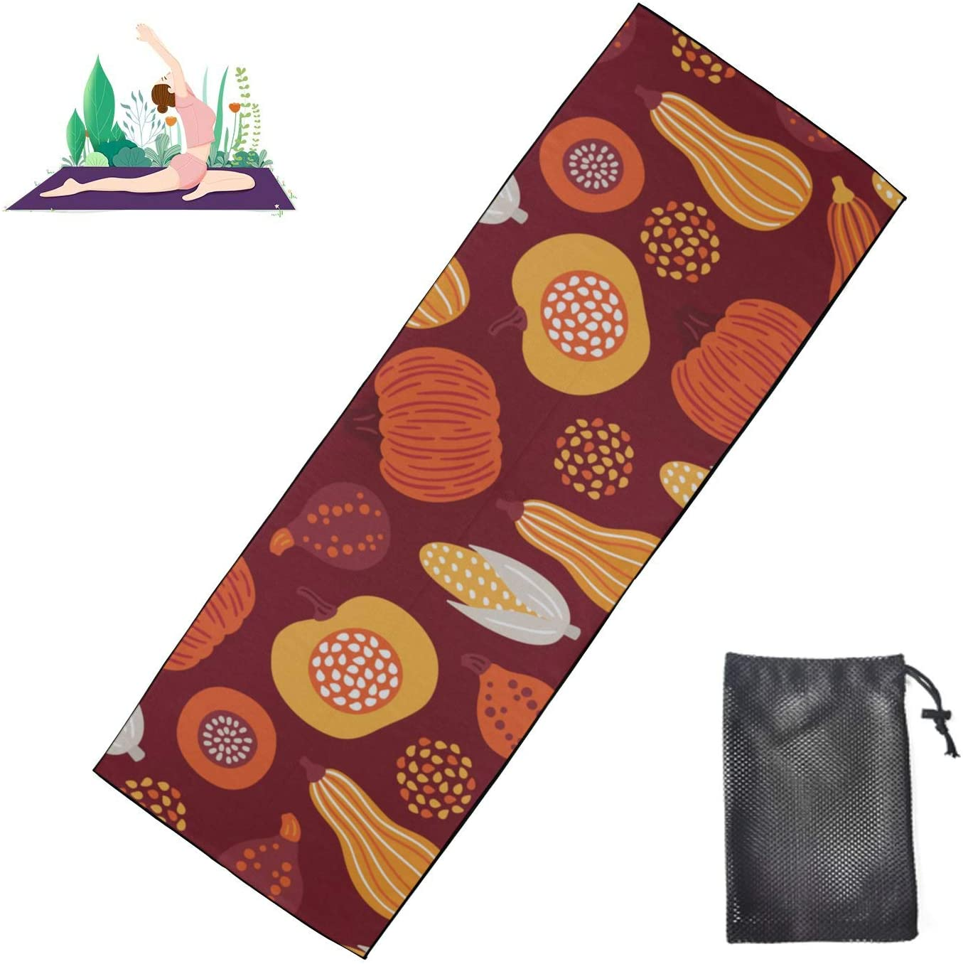 JGYJF Fun Yoga Mat Sweet Fashion Fruit Vegetable Harvest Towel Yoga Mats Microfiber Super Soft and Sweat Absorbent, Ideal for Hot Yoga, Pilates and Workout