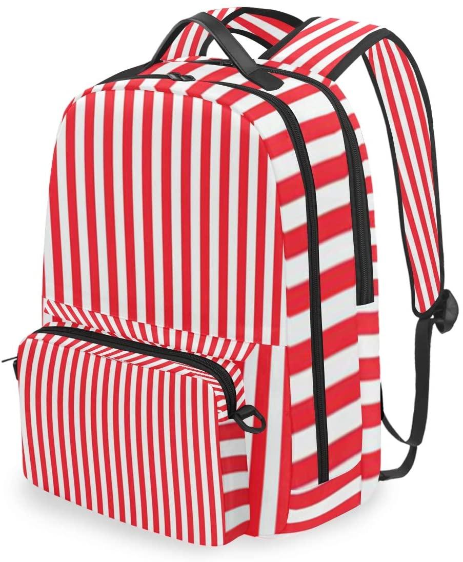 SLHFPX Women/Men Backpack White Red Stripes Bookbag College School Shoulder Bag Daypack Travel Rucksack for Youth