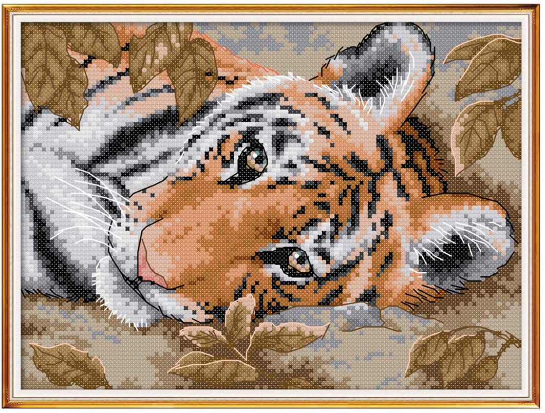 HMANE Embroidery Kit Full Set of Embroidery Starter Kit with Pattern Cross Stitch Kits for Beginners Adults, 14CT 11.42x8.27 Inch - A Lying Tiger