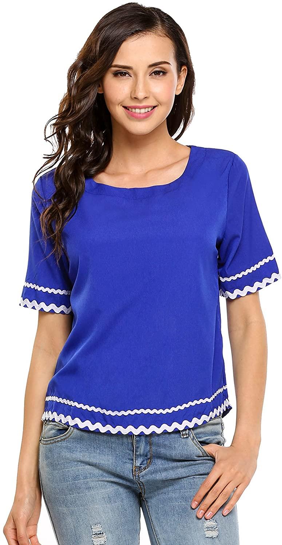 Zeagoo Women Navy Waved Print Trim Short Sleeve T-Shirt Blouse Tops