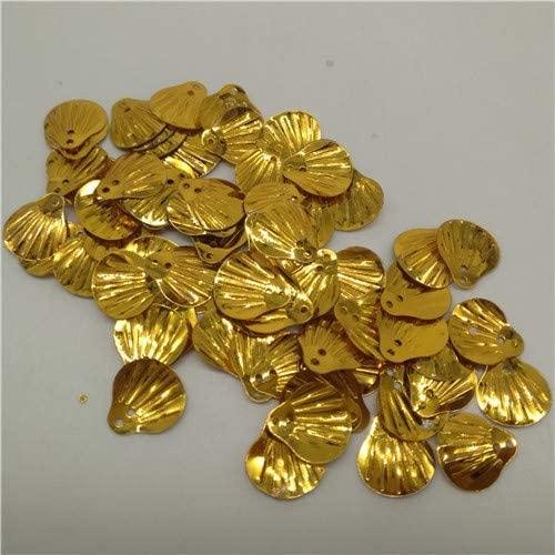 Jienie Deep Gold Paillettes 500Pcs 13mm Shell Shape Loose Sequins Sewing Wedding Handcraft DIY Clothing Garment Decoration Accessory - (Color: 500 Piece deep Gold, Size: AB deep Gold)