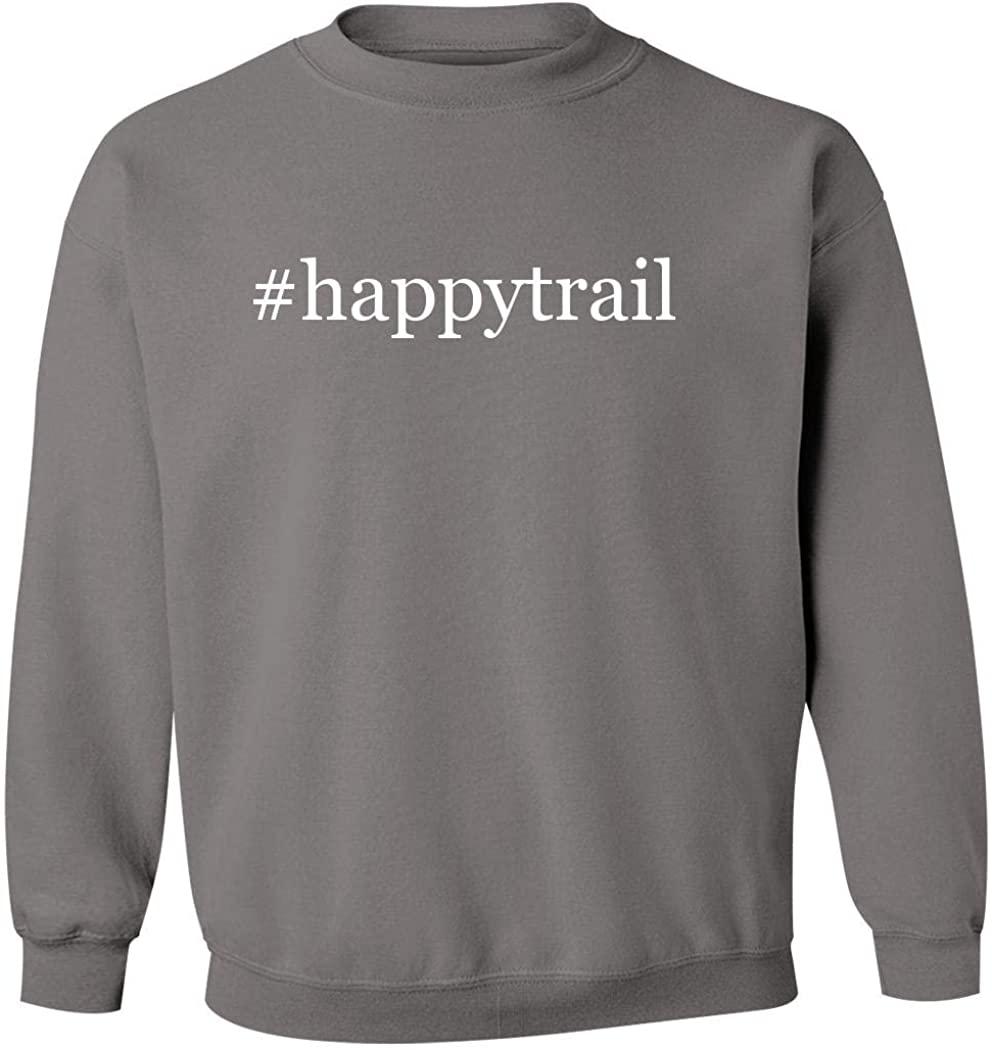 #happytrail - Men's Hashtag Pullover Crewneck Sweatshirt, Grey, XXX-Large