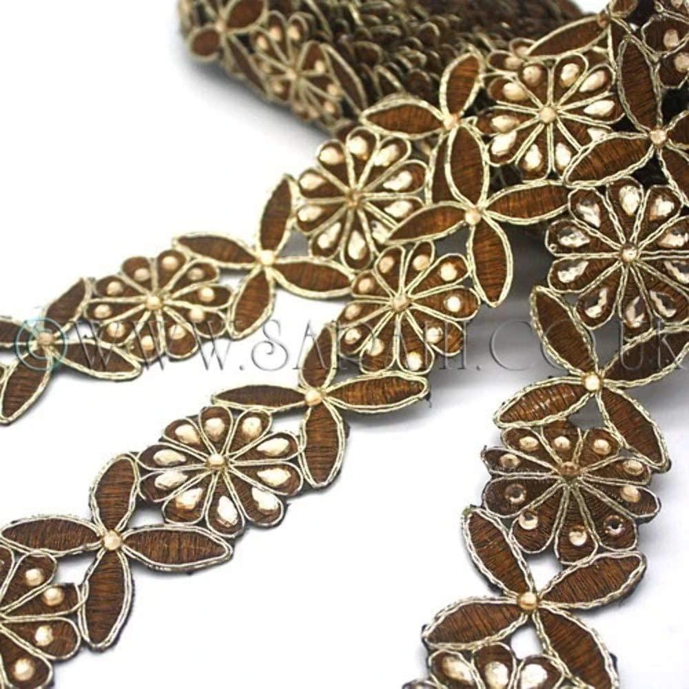 Brown Floral Fabric Trim - Sarahi.NYC