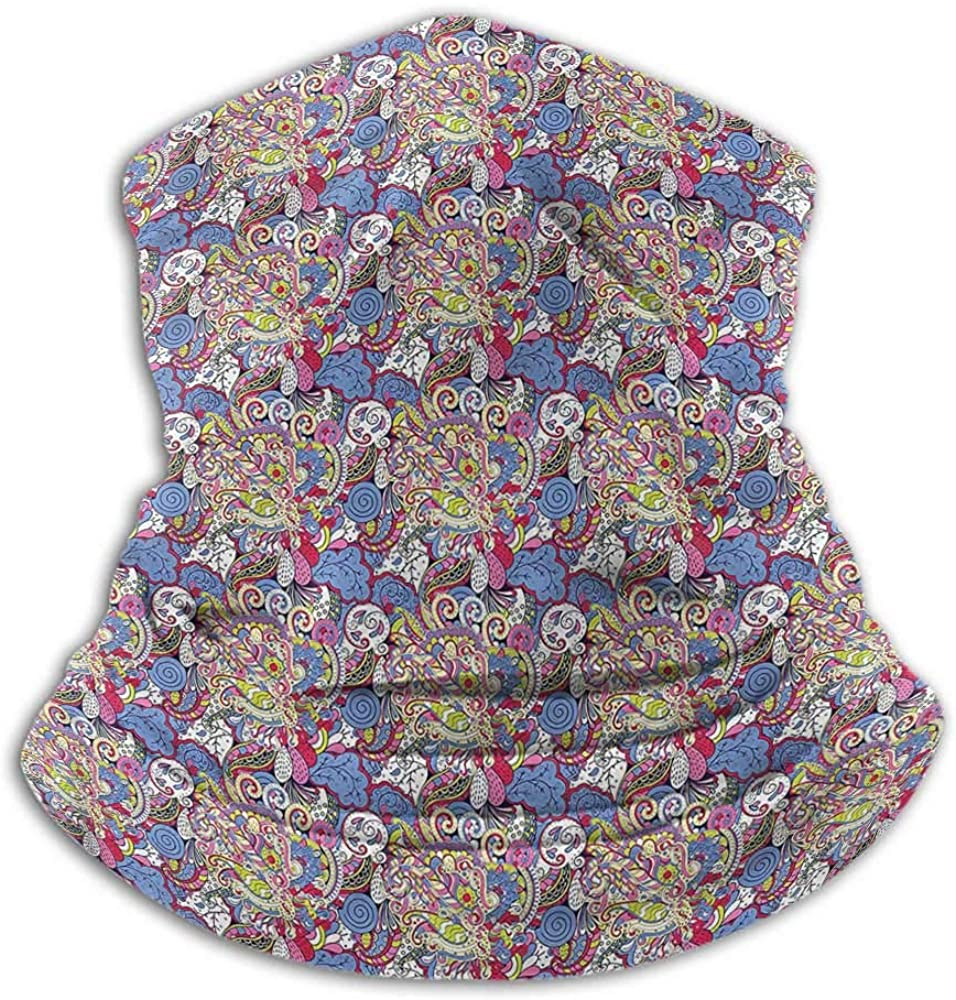 Neck Gaiters For Men Boho Creative Personality Custom Scarf Colorful Mehndi Motifs 10 x 12 Inch