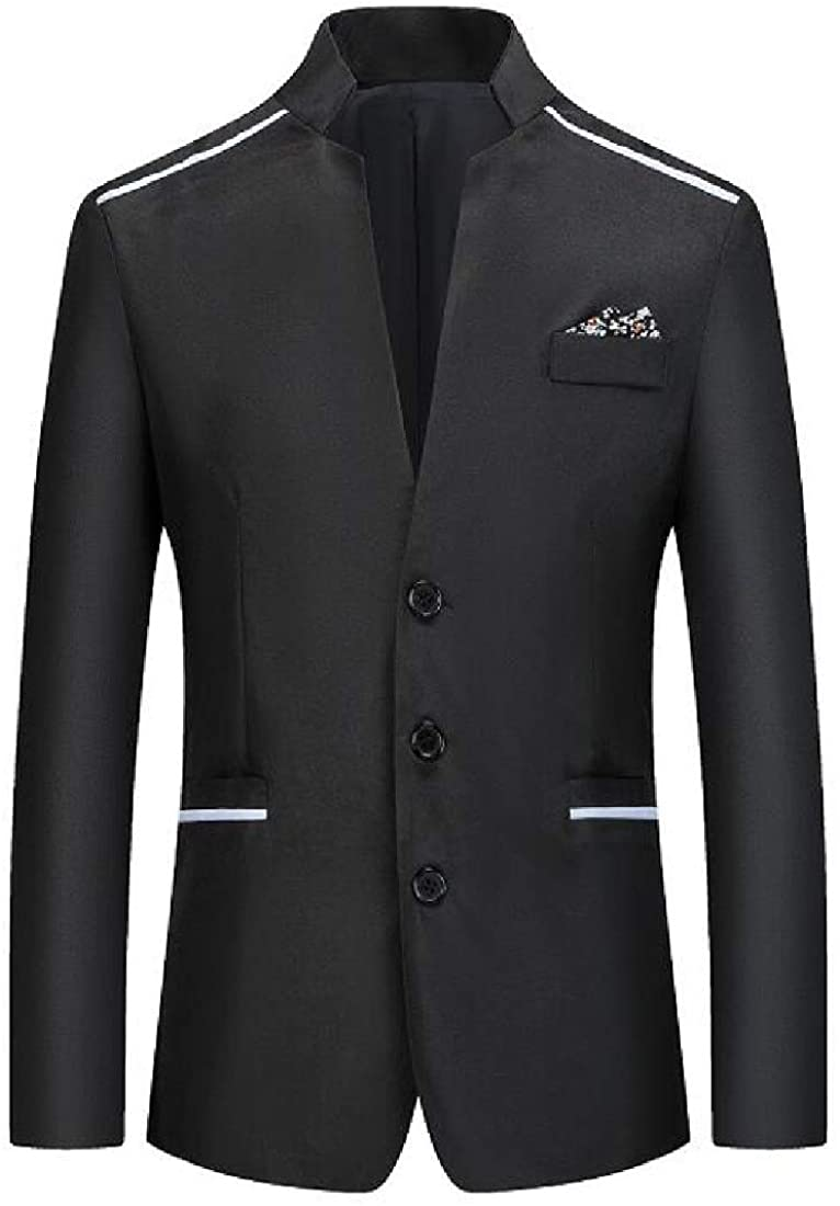 CRYYU Men's Slim Business Stand Collar Single Breasted Basic Blazer Jackets