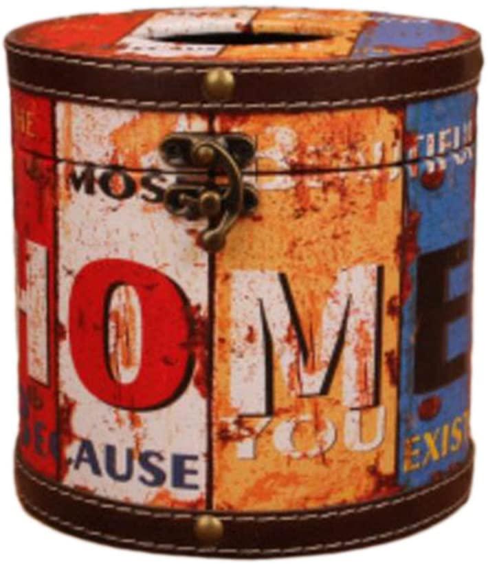 George Jimmy Creative Retro Circular Tissue Box Wooden Rural Style Holders-F06