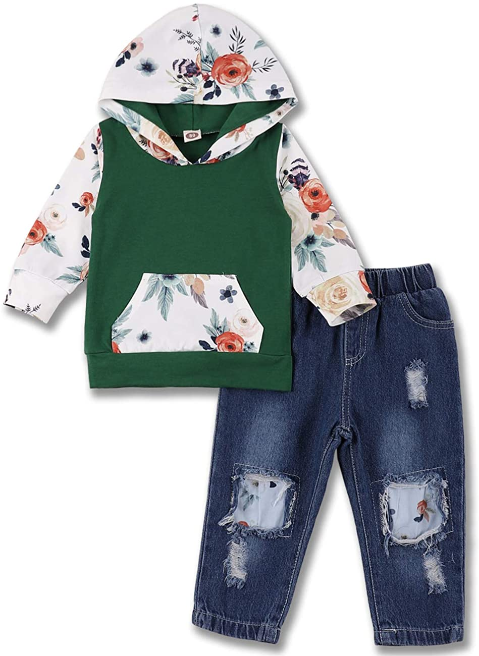 Baby Girls Long Sleeve Flowers Hoodie Tops and Jeans Outfit with Pocket