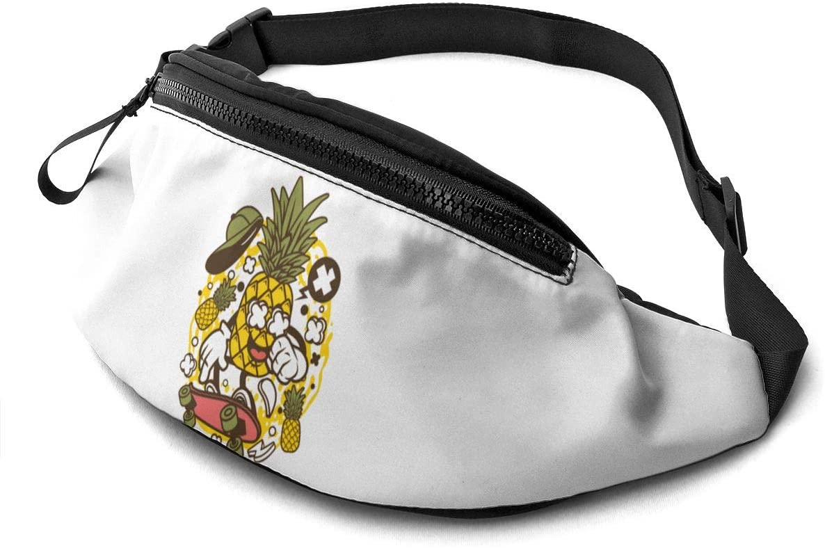 Qwtykeertyi Pineapple Unisex Fanny Packs for Outdoors Sport Traveling Casual Running Gym with Adjustable Strap Casual Waist Bag