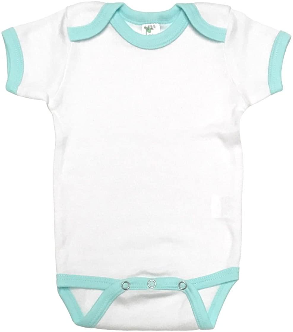 Laughing Giraffe Baby Short Sleeve Ringer Onesie Bodysuit (6-12M, White/Mint)