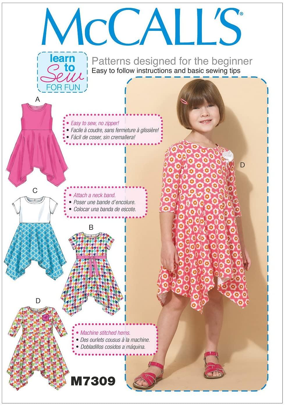 McCall's Patterns M7309 Children's/Girls' Handkerchief-Hem Dresses, Size CL (6-7-8)