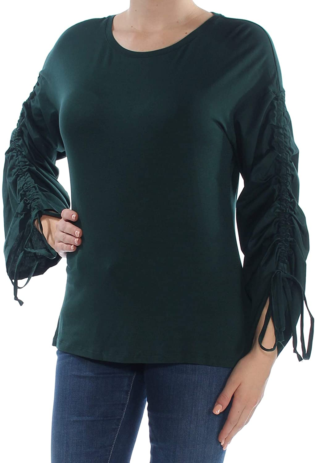 INC International Concepts Women's Ruched-Sleeve Top Hunter Forest Medium