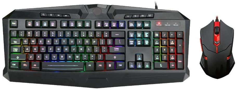 RLIRLI Mechanical Keyboard, Gaming Mouse with 7 LEDs As Lighting (1000/1600/2000 DPI Adjustable), Gaming Mouse and Keyboard Set with Full Keys, for Gaming and Work