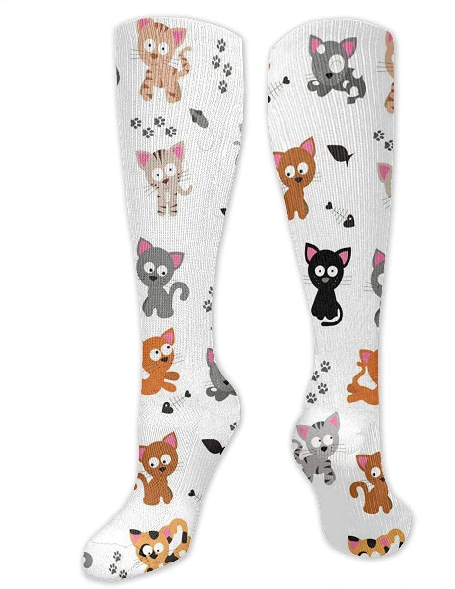 Men Women Knee High Socks Cartoon Cat Fish Bones Footprint Long Hose Stockings