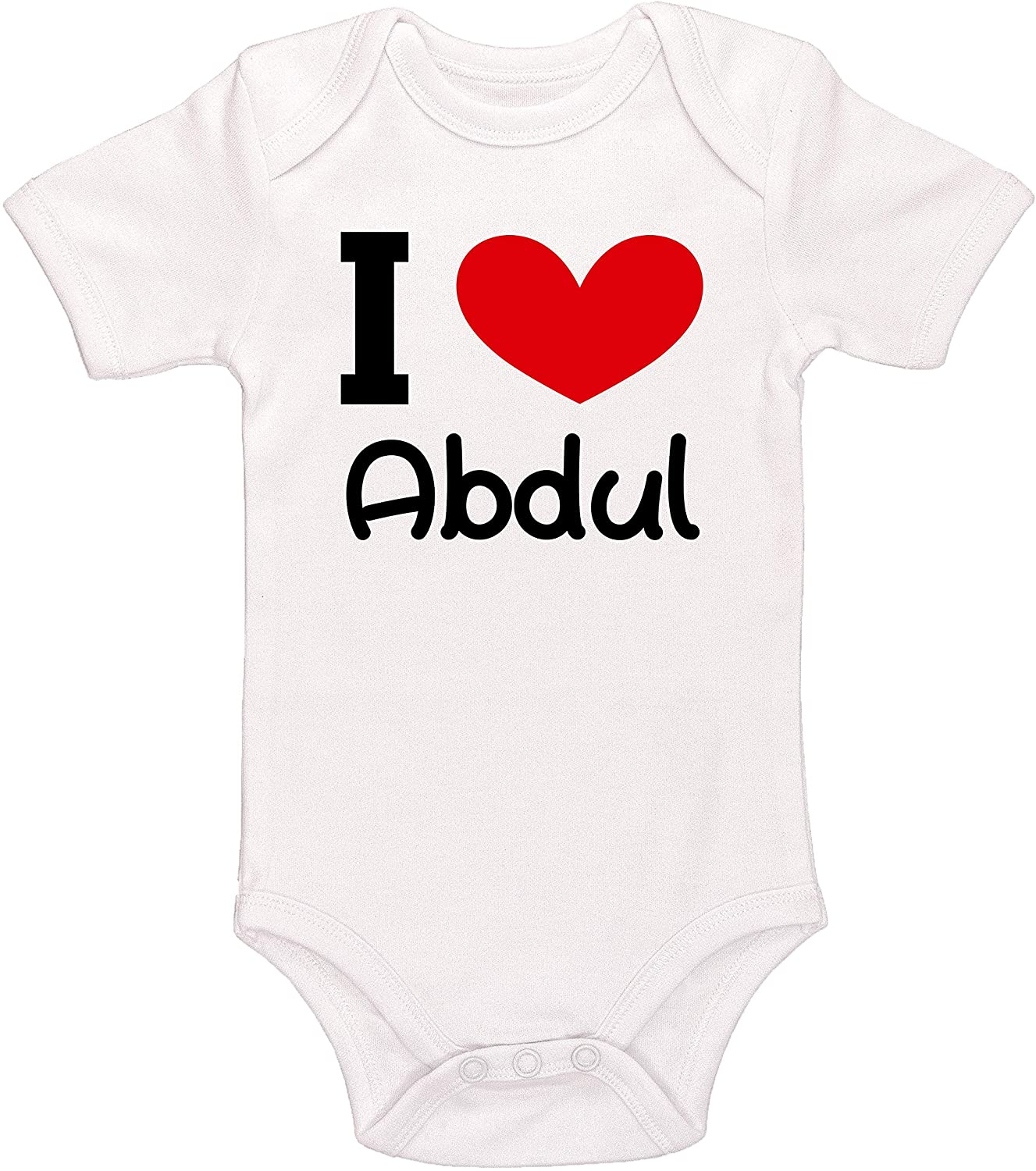 Kinacle I Love Abdul Personalized Baby Bodysuit
