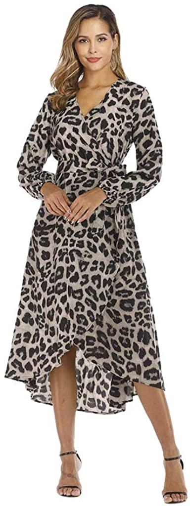 Ninasill Women Casual Long Sleeve Ladies Fashion Print Leopard Deep V Neck Long Dress