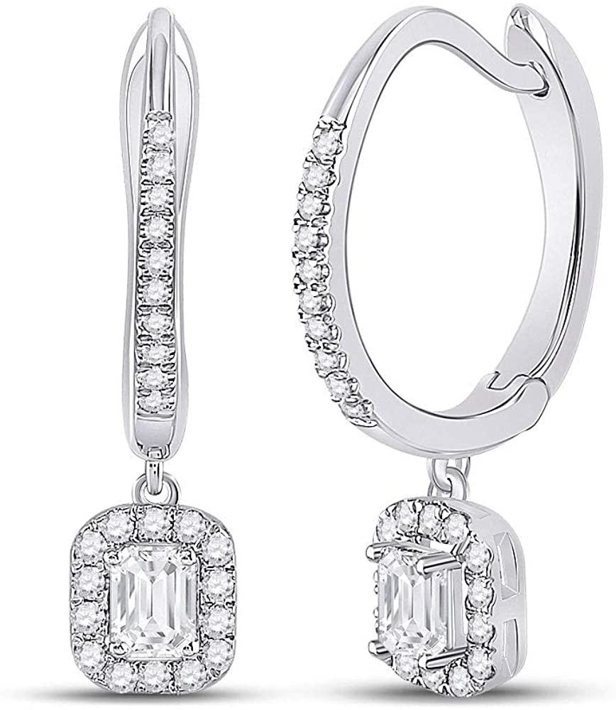 Dazzlingrock Collection 14kt White Gold Womens Emerald Diamond Hoop Dangle Earrings 1/2 Cttw