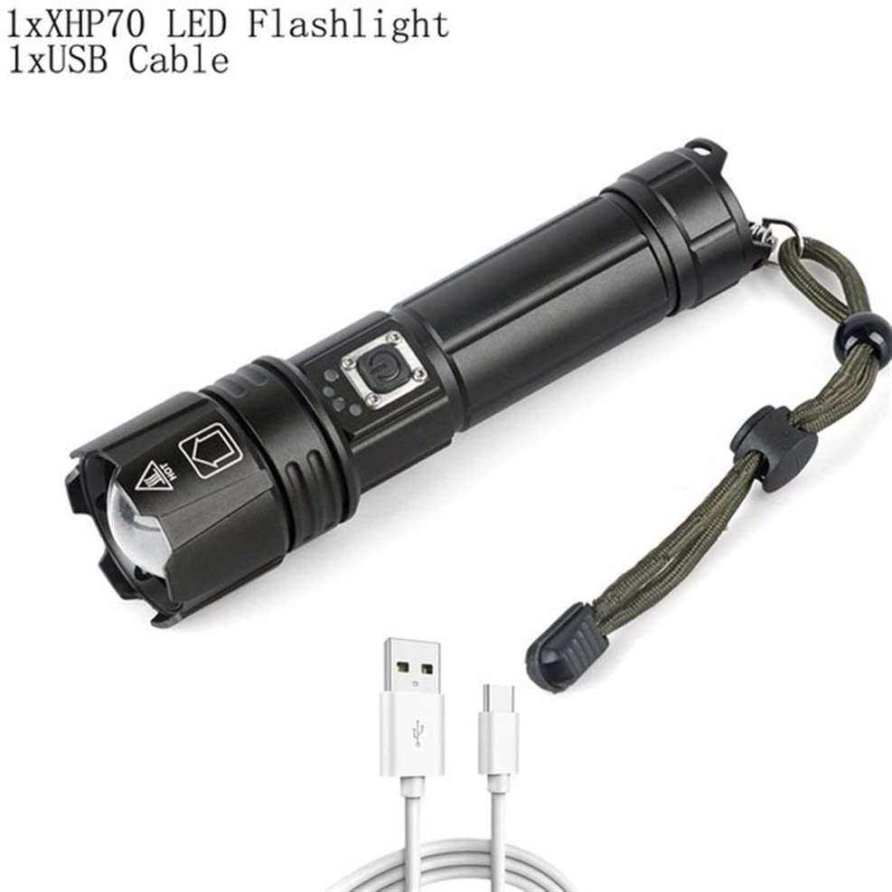Led Flashlight, 5 Modes Super Bright Waterproof Zoom Flashlight, Suitable for Camping, Hiking, Outdoor Activities, Best Camping-(including 26650 Battery and Charger) (Size : Package A)