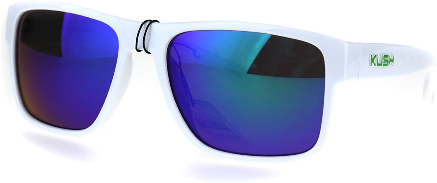 Mens White Kush Color Mirror Rectangular Sport Gangster Sunglasses